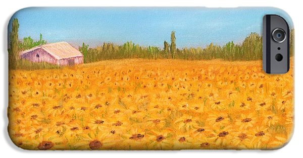 Gold Pastels iPhone Cases - Sunflower Field iPhone Case by Anastasiya Malakhova