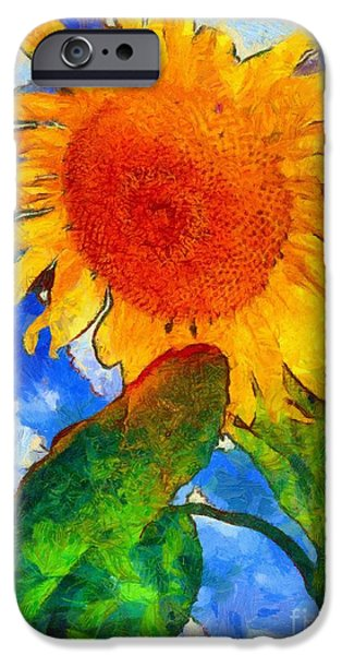 Girasol iPhone Cases - Sunflower - from heaven above iPhone Case by Janine Riley