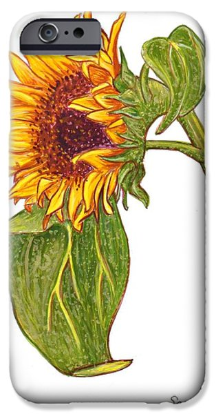 Sarah Loft iPhone Cases - Sunflower in Gouache iPhone Case by Sarah Loft