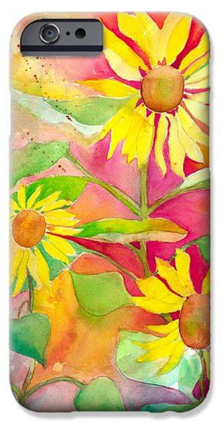 Abstracted Coneflowers iPhone Cases - Sunflower iPhone Case by Kelly Perez