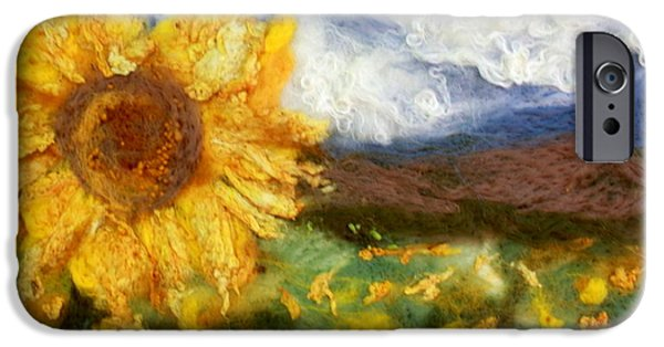 Farm Tapestries - Textiles iPhone Cases - Sunflower iPhone Case by Kyla Corbett