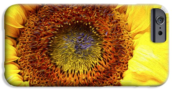 Close Digital iPhone Cases - Sunflower love iPhone Case by Les Cunliffe