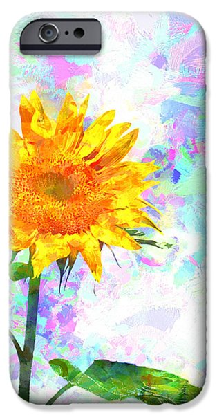 Collectible Mixed Media iPhone Cases - Sunflower Magic iPhone Case by Bob Orsillo