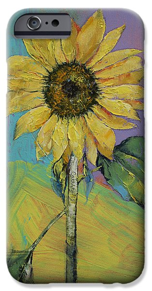 Sunflowers iPhone Cases - Sunflower iPhone Case by Michael Creese