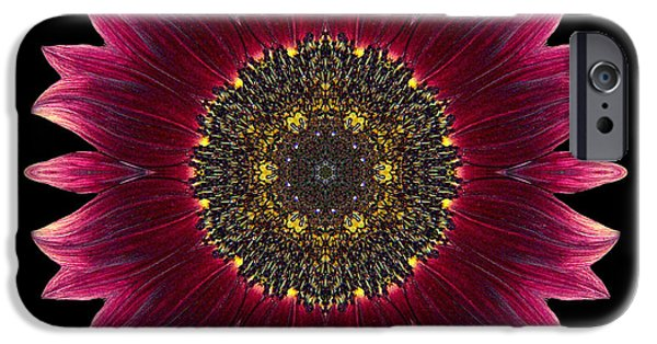 David J Bookbinder iPhone Cases - Sunflower Moulin Rouge I Flower Mandala iPhone Case by David J Bookbinder