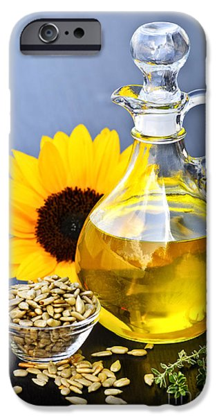 Handle iPhone Cases - Sunflower oil bottle iPhone Case by Elena Elisseeva