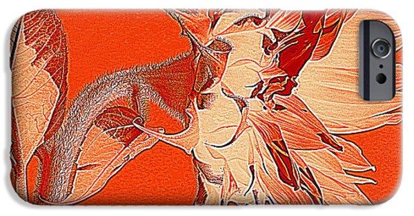 Girasol iPhone Cases - Sunflower - Orange Deco Burst iPhone Case by Janine Riley