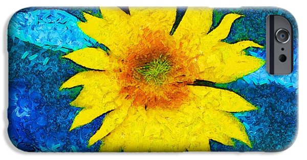 Abstract Sunflower iPhone Cases - Sunflower Pop Abstract iPhone Case by Dan Sproul