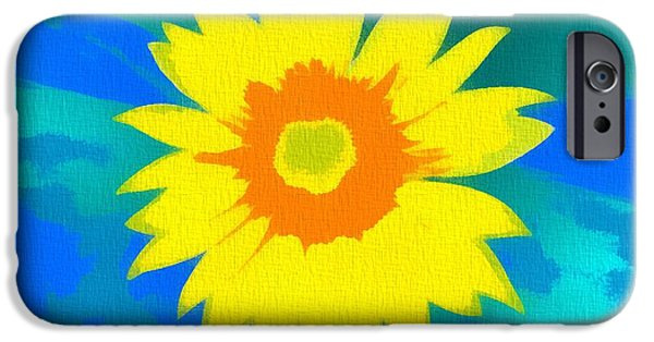 Abstract Sunflower iPhone Cases - Sunflower Pop Art iPhone Case by Dan Sproul