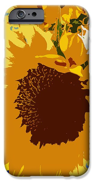 Abstract Sunflower iPhone Cases - Sunflower Pop iPhone Case by Colleen Kammerer