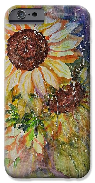 Garden Ceramics iPhone Cases - Sunflower Rain iPhone Case by Kathleen Pio