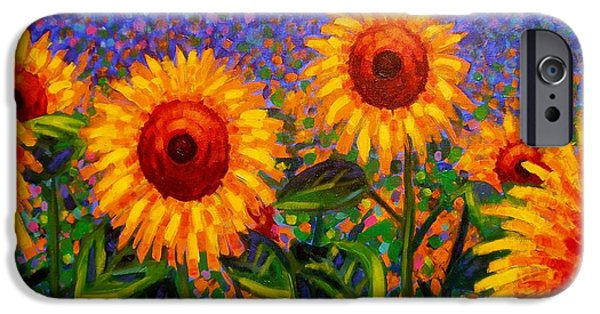 Wine Canvas Paintings iPhone Cases - SunFlower Scape iPhone Case by John  Nolan