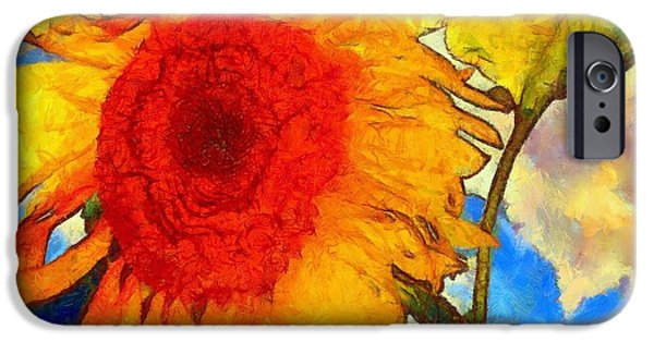 Girasol iPhone Cases - Sunflower Shine iPhone Case by Janine Riley