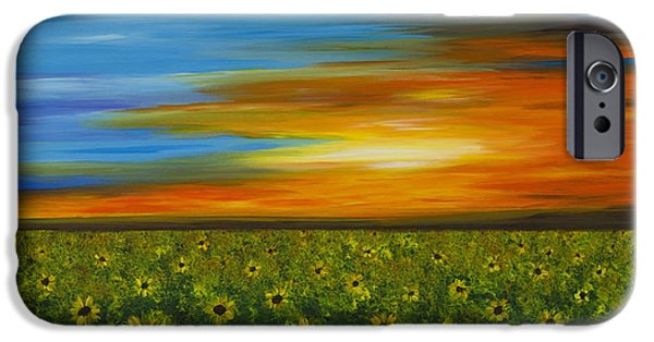 Sunflower Field iPhone Cases - Sunflower Sunset - Flower Art By Sharon Cummings iPhone Case by Sharon Cummings