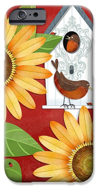 Garden Scene iPhone Cases - Sunflower Surprise iPhone Case by Valerie   Drake Lesiak