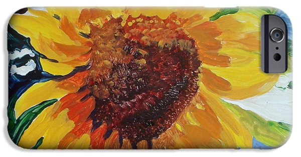 Floral Ceramics iPhone Cases - Sunflower Tile  iPhone Case by Susan Duda