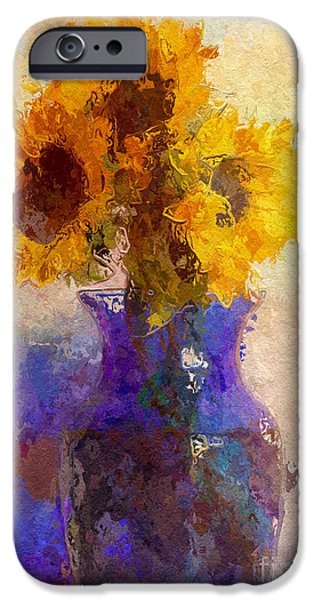 Plant iPhone Cases - Sunflower Trio In Blue Vase iPhone Case by Heidi Smith