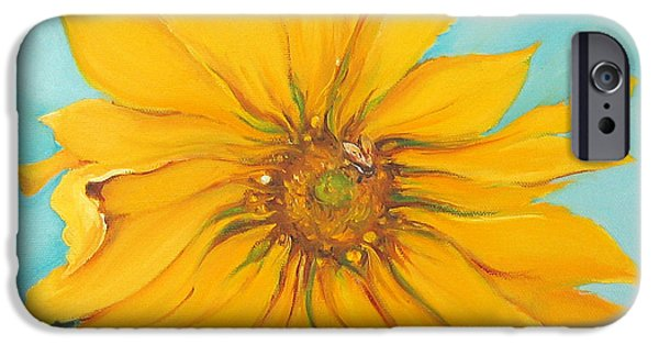 Sun Rays Paintings iPhone Cases - Sunflower with Bee iPhone Case by Bettina Star-Rose