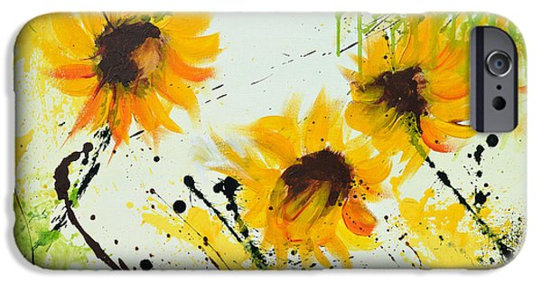 Ismeta iPhone Cases - Sunflowers - Abstract painting iPhone Case by Ismeta Gruenwald