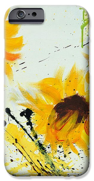 Sunflowers - Abstract painting iPhone Case by Ismeta Gruenwald