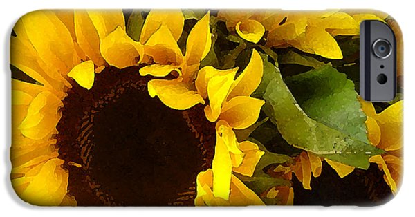 Texture Paintings iPhone Cases - Sunflowers iPhone Case by Amy Vangsgard