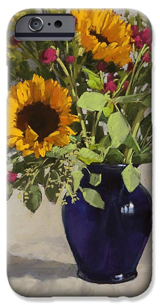 Still Life Pastels iPhone Cases - Sunflowers and Clover iPhone Case by Sarah Blumenschein