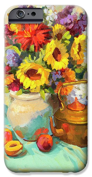 Pottery Paintings iPhone Cases - Sunflowers and Copper iPhone Case by Diane McClary