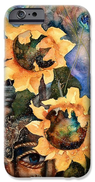 Zoology Paintings iPhone Cases - Sunflowers and Peacock Feathers iPhone Case by Kate Bedell