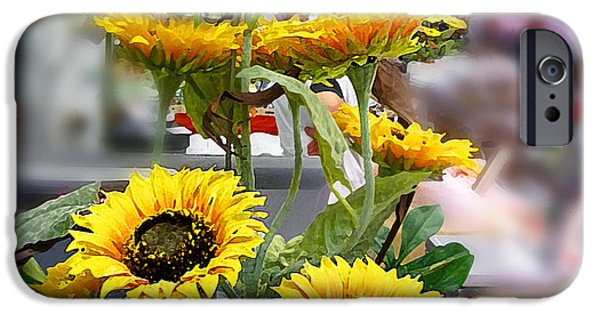 Colorful Sunflower iPhone Cases - Sunflowers At The Market Florence Italy iPhone Case by Irina Sztukowski