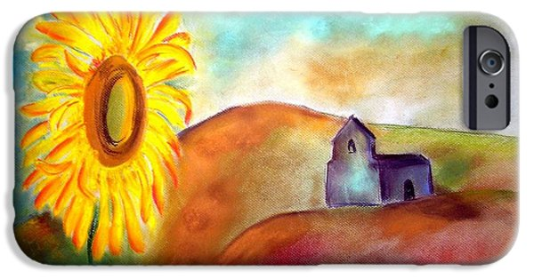 Village Pastels iPhone Cases - Sunflowers by the hermitage iPhone Case by Rosa Garcia Sanchez