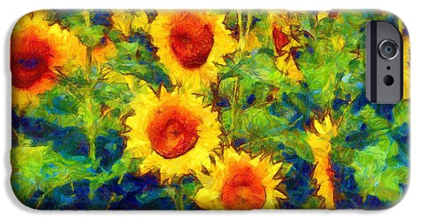Playful Digital Art iPhone Cases - Sunflowers Dance in a field iPhone Case by Janine Riley