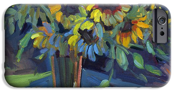 Floral Still Life Paintings iPhone Cases - Sunflowers iPhone Case by Diane McClary
