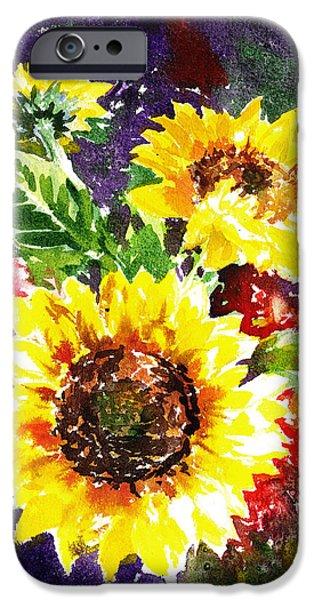 Pollen iPhone Cases - Sunflowers Impressionism iPhone Case by Irina Sztukowski
