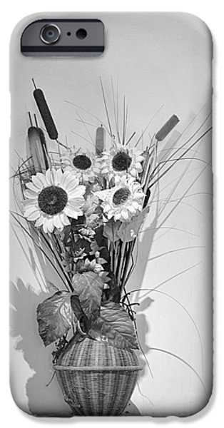 Vase iPhone Cases - Sunflowers in a basket iPhone Case by Christine Till