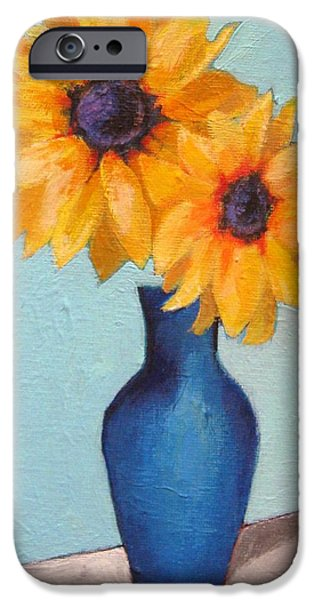Recently Sold -  - Nature Study iPhone Cases - Sunflowers In A Blue Vase iPhone Case by Venus