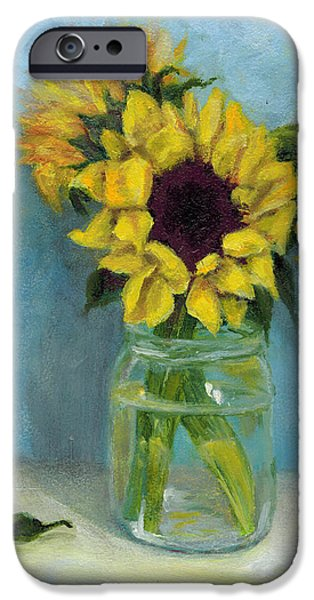 Water Jars Paintings iPhone Cases - Sunflowers in Mason Jar iPhone Case by Sandra Nardone