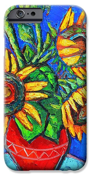 Modern Abstract iPhone Cases - Sunflowers In Red Vase Original Oil Painting iPhone Case by Ana Maria Edulescu