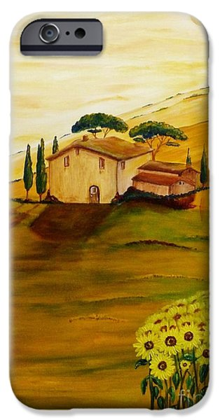 Tuscan Sunset Paintings iPhone Cases - Sunflowers in Tuscany iPhone Case by Christine Huwer