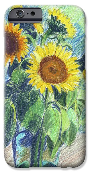 Colored Pencils iPhone Cases - Sunflowers iPhone Case by Mary Helmreich