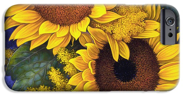 Card Mixed Media iPhone Cases - Sunflowers iPhone Case by Mia Tavonatti