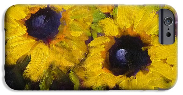 Business Paintings iPhone Cases - Sunflowers iPhone Case by Nancy Merkle