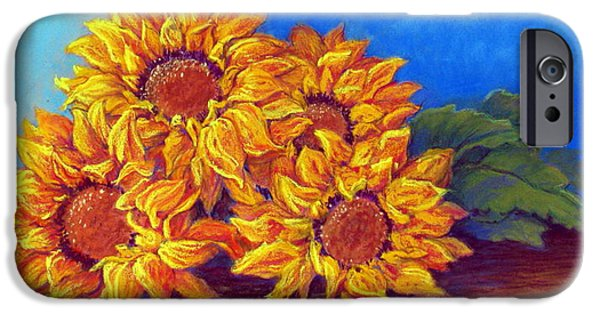 Outdoors Pastels iPhone Cases - Sunflowers of Fall iPhone Case by Tanja Ware