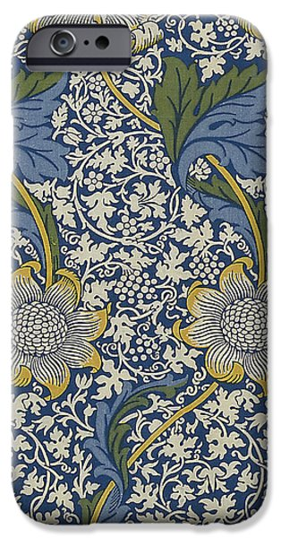 Fabric Tapestries - Textiles iPhone Cases - Sunflowers on Blue Pattern iPhone Case by William Morris