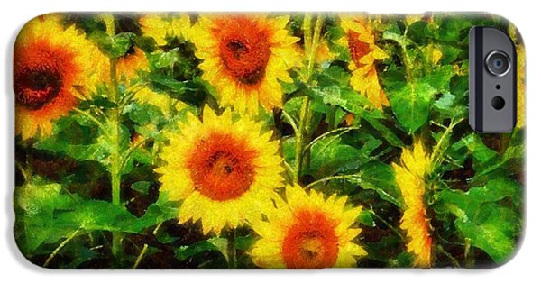 Girasol iPhone Cases - Sunflowers Parade in a field iPhone Case by Janine Riley