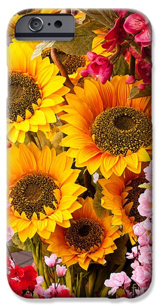 Artificial Flowers iPhone Cases - Sunflowers iPhone Case by Rick Piper Photography