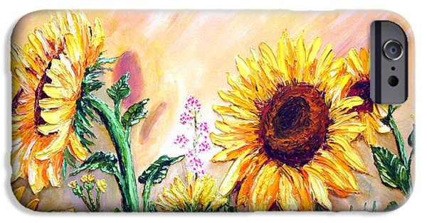 Bob Ross Paintings iPhone Cases - SUNFLOWERs iPhone Case by Shirwan Ahmed