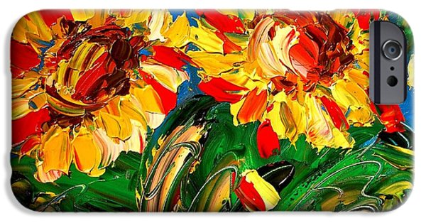 The White House Photographs iPhone Cases - Sunflwers iPhone Case by Mark Kazav