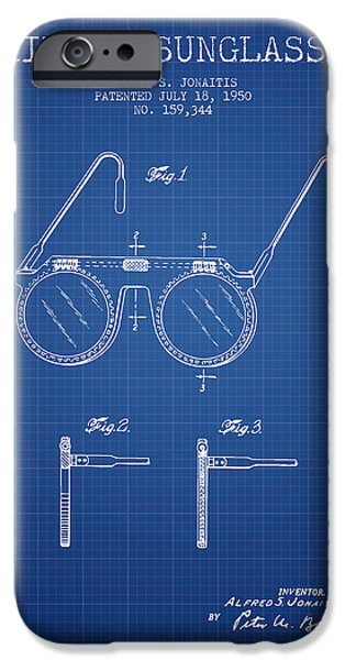 Sunglasses iPhone Cases - Sunglasses patent from 1950 - Blueprint iPhone Case by Aged Pixel