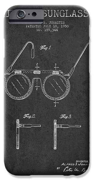 Sunglasses iPhone Cases - Sunglasses patent from 1950 - Dark iPhone Case by Aged Pixel