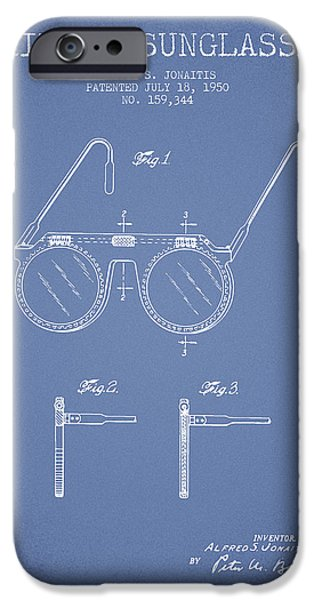 Sunglasses iPhone Cases - Sunglasses patent from 1950 - Light Blue iPhone Case by Aged Pixel